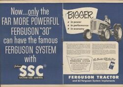 1952 2 Page Print Ad Ferguson System Ssc Suction-side Control Model 30 Tractor