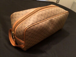GUCCI Vtg Brown GG Logo Leather Dopp Kit Travel Toiletries Case Cosmetics Bag