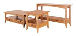 Amish Shaker Occasional Accent Tables Square Coffee End Sofa Wood Set Of 3