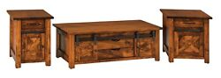 Amish Rustic Sliding Barn Door Track Accent Tables Set Solid Wood Coffee End