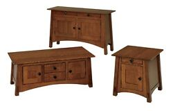 Amish Set Arts And Crafts Craftsman Accent Tables Coffee End Sofa Solid Wood