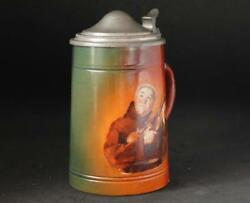 Antique American Beer Stein Monk Playing Violin By Colombian Art Pottery C.1890