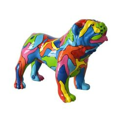 Very large English Bulldog dog statue in multicolored resin. 28  35.5 inches