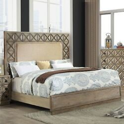 Weathered Light Oak Finish Queen Size Padded Fabric Bedroom Furniture 1pc Bed