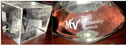 2 3d Laser Etched Crystal Minnesota Vikings Glass Us Bank Stadium Paper Weight