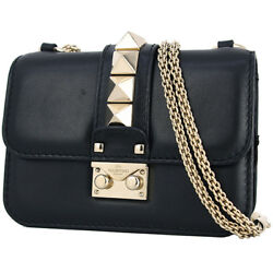 Auth VALENTINO Gram rock Chain shoulder bag Lock stud Black GHW Clutch bag Women