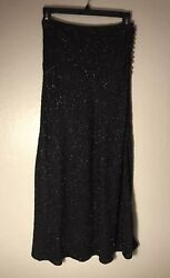 Michael Kors Collection Black Beaded Skirt Made In Italy Size 2