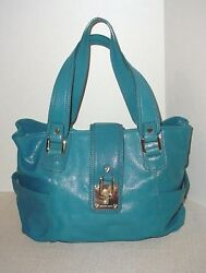 Michael Kors Smooth Leather Doctor Style Designer Bag Rich Turquoise Blue Large