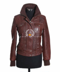 Natalie Brown Ladies Retro Bomber Casual Real Lambskin Leather Fashion Jacket