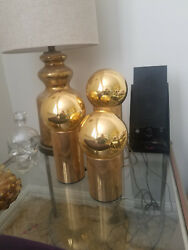 gold Vintage Late 70's Disco Era Side Lamps