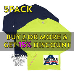 5 Pack Aaa Alstyle 1304 Mens Plain Long Sleeve T Shirt Casual Cotton Tee Active