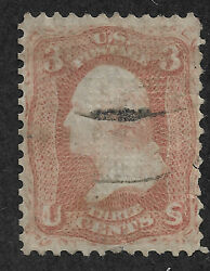 US #88 (1867) 3c  George Washington - Used (Faulty) - Double Grill (Rare)