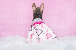 Satin girlie harness dress for dog with cotton skirt shoes and perfume pattern