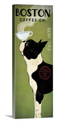 Boston Terrier Coffee Co Stretched Canvas