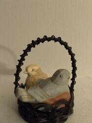 Avon Spring Melodies Salt And Pepper Shakers Birds In A Wire Basket Blue And White