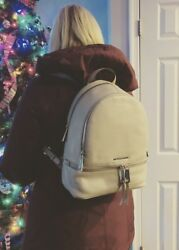 Michael Kors Rhea Zip Med Backpack Purse Cement Leather NWT Authentic