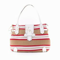 Eric Javits X-Large Squishee Straw Summer Beach Tote Bag Tan Gold White Red