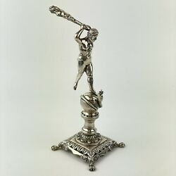 Antique Solid Silver Hercules Killing Hydra Club Cocktail / Tooth Pick Holder