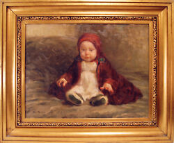 Baby With Red Robe By Julius Paulsen Denmark Signed And Dated 1920 Oil / Canvas