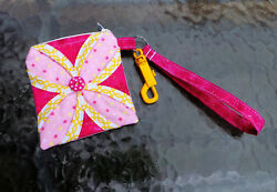 keychain wallet yellow sparkly pink dot id card holder small cute wristlet purse