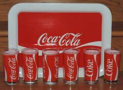 1984 Coca-cola 7pc Beverage Glasses And Serving Tray Set W/box- Indiana Glass Usa