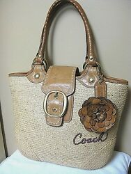 LARGE COACH Woven Tan Straw Purse Shoulder Hand Bag Bucket Tote Leather trim