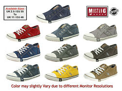 Mustang Sneakers Low Top Slip On / Lace-up Canvas Trainers Casual Shoes Unisex