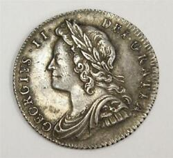 1728 6 Pence Great Britain 6d George Ii S3707 Roses And Plumes In Angles Ef45
