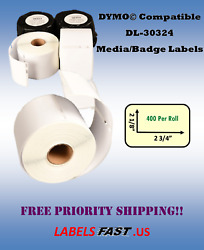 30324 Media Badges 400 Labels White Adhesive Compatible Dymo® 300 450 Twin Turbo