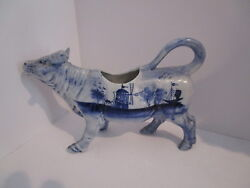 Antique Flow Blue Cow Creamer W/windmill And Sailboat Scenes