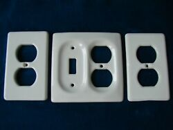 Lot of 3 Vintage Porcelain Wall Light Switch & Outlets Cover Plate - White