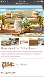 Pottery Barn Teak Patio Couch W/ Sunbrella Cushions In Natural New