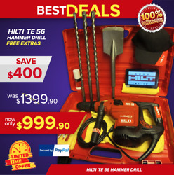 Hilti Te 56 Hammer Drill Great Condition Free Tablet Bits Fast Ship