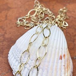 14kt Yellow Gold Open Oval Link Textured And Shiny Necklace Chain 48 Long New
