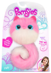 Pomsies - Pinky Pink And White Plush Wearable Pet Cat With Light Up Eyes +sounds