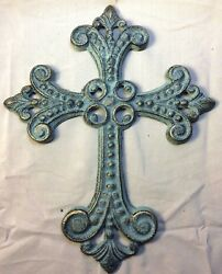 Antique Gold and Green Patina Celtic Cross for wall mounting $14.99