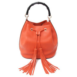 Authentic GUCCI Bamboo Bucket Bag Calf Leather Orange with Fringe 387613