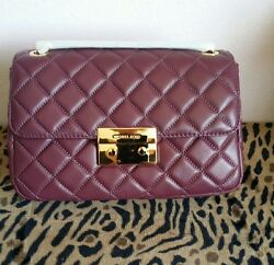 Michael Kors NEW Sloan Plum Quilted Leather Gold Chain Shoulder Crossbody Bag