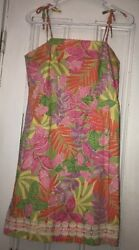 Lilly Pulitzer Bottom's Up Frogs Tropical Jungle Print Dress Sz 16 Girls