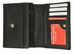 Small Black Women#x27;s Genuine Leather Card ID Money Holder Wallet W Coin Pockets $12.99