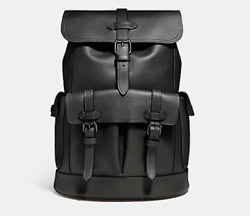 NEW Authentic COACH Men Leather Buckle Utility business Rucksack Backpack black