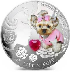 Fiji 2013 2$ My Little Puppy Yorkshire Terrier Dogs & Cats 1Oz Silver Coin