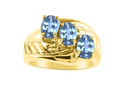 3 Stone Oval Shape Blue Topaz Ring Set In 14k Yellow Gold - Color Stone Births
