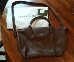 LONGCHAMP Le Pliage Cuir Top Handle S Small Leather Crossbody Bag-Dk Brown *$490