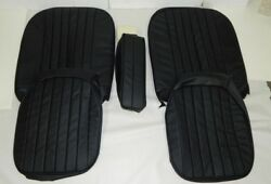 New Black W Black Seat Upholstery Set Material For Arm Rest Mga 1955-62 Leather