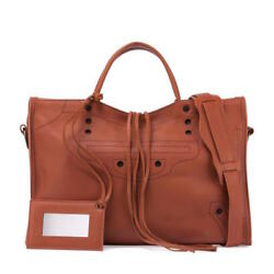 BALENCIAGA Blackout City Bag in Marron Fauve