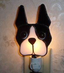 Boston Terrier STAINED GLASS NIGHT LIGHT - 5 12