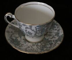 Clarence - Bone China - Leaves Scrolls Vintage Teacup And Saucer