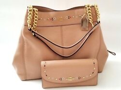 NEW COACH Floral Embroidery Leather gold chain hobo bag & matching Wallet SET