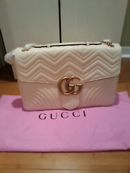 New Gucci Marmont Giant white leather bag with tags and dust bag